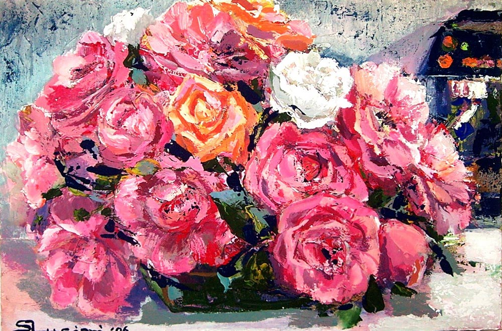 Fiori silvia lucioni pittrice for Quadri con rose rosse